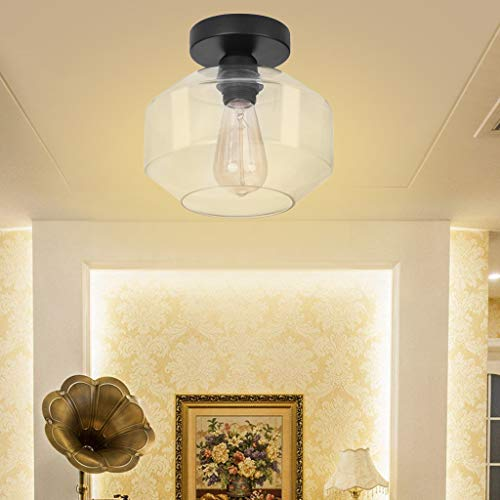 GraPefruiT Industrial Ceiling Light with Clear Glass Shade and Black Ceiling Box, Retro Ceiling Light Fixture for Home Living Room Dining Room Hotel Corridor Cafe, 8.66 x 8.26 Inch (Wagon Wheel Light Fixture With Mason Jars)