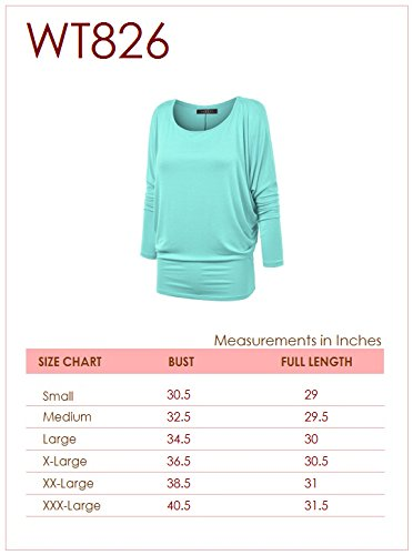 Lock and Love WT826 Womens Batwing Long Sleeve Top M Mint by Lock and Love (Image #6)