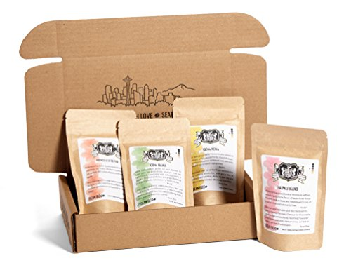 Whole Bean Gift Box - Bean Box Gourmet Hawaiian Coffee Sampler - (4 handpicked Hawaiian roasts including 100% Kona, gift box, specialty whole bean, personalized gift note, gifts for mom, gifts for dad)