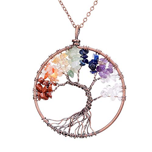 XC-WU Colorful Bent Tree of Bronze Pendant Gemstone Necklace for Women and Girls Handmade Wire Wrapped Jewelry ...(silver)