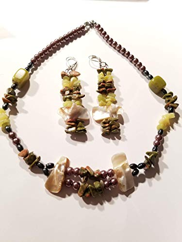 Unakite Gemstone Hematite Gemstone Olive Jade Beads Tan Mother of Pearl Shell Choker Necklace Earring Set