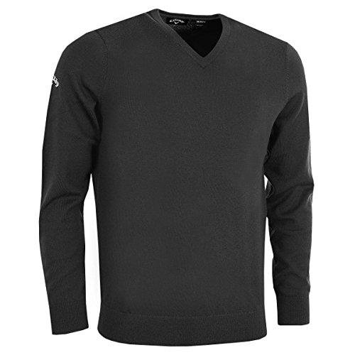 Callaway Pullover V-neck - Callaway 2018 Weather Series Mens Thermal Ribbed V Neck Merino Golf Sweater Black Onyx Medium