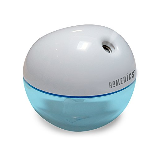 Homedics Personal Ultrasonic Humidifier | 200 ML Reservoir, 4 Hour Runtime, Travel Size, Single Touch Operation, Whisper-Quiet | Includes AC & USB Adaptors, BONUS- 3 FREE WICK FILTERS by Homedics