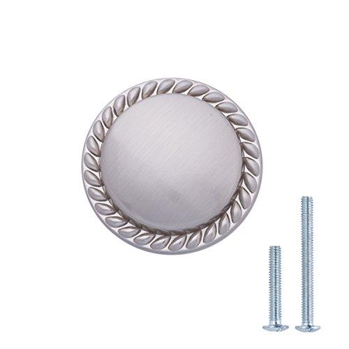 """AmazonBasics Round Braided Cabinet Knob, 1.125"""" Diameter, Satin Nickel, 10-Pack"""