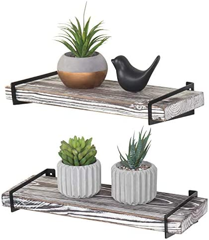 MyGift Wall Mounted 16-Inch Torched Wood Floating Shelves with Black Metal Brackets, Set of 2