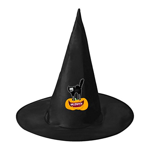 Catwoman Homemade Costumes (SEBIDAI Black Scaredy Cat and Pumpkin Lamp Black Wizard Cap Witch Hat for Adults Kids Halloween Costume Party)