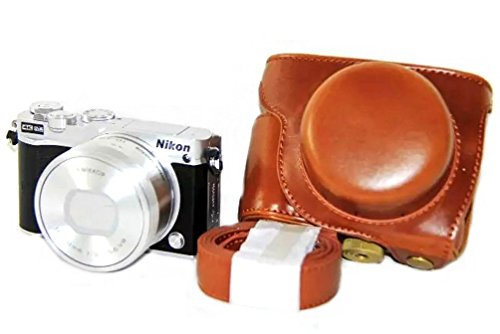iRunzo Ever Ready PU Leather Camera Case Bag for Nikon 1 J5 Compact Camera with 10-30mm Lens (Brown)