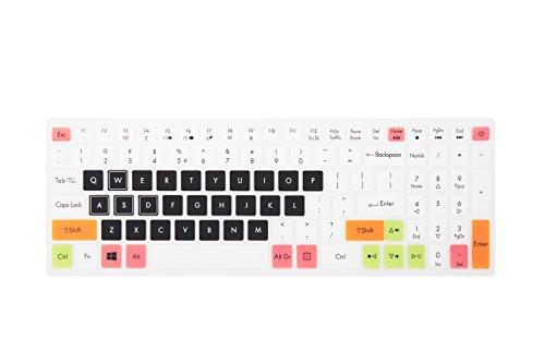 Leze - Ultra Thin Soft Keyboard Protector Skin Cover for Acer Aspire VX 15 VX5-591G, Aspire V15 VN7-593G,Predator Helios 300,Aspire V17 VN7-793G Gaming Laptop US Layout - White Black (Keyboard Skin Acer Aspire)