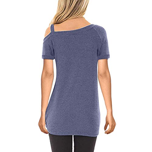 751562678ff1f TWGONE Cold Shoulder Tunic Tops For Women Short Sleeve Pure Color Ladies  Knot Front T Shirt