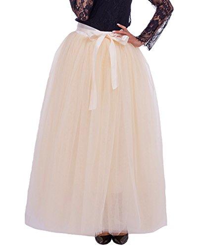 Comall Femme Jupon sous Robe Jupe Tutu en Tulle 7 Couches 100cm Rtro Vintage Petticoat Beige
