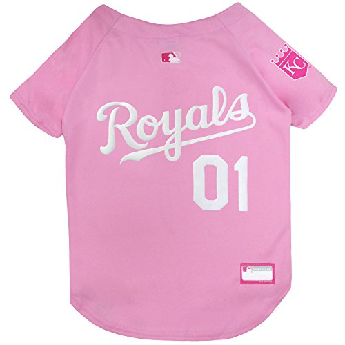 MLB Jersey for Dogs - Kansas City Royals Pink Jersey, Large. Cute Pink Outfit for Pets ()