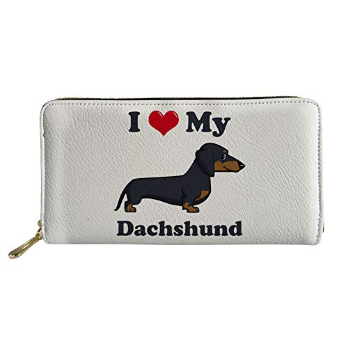 Showudesigns Cute Dachshund Slim Wallet PU Leather Business Multi-Card Holder - Dachshund Cute