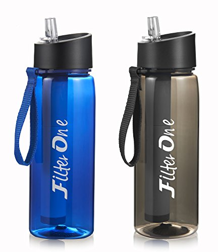 FilterOne personal Water Filter Bottle & Built-In Compass, BPA free Portable 2-Stage Integrated Personal Filter Straw for Hiking Camping Survival or Emergency, Leakproof Reusable Straw (Blue)