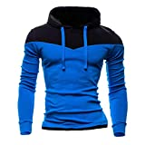 NRUTUP Men's Full-Zip Hooded Fleece Sweatshirt Colorblock Hoodie Long Sleeve Top Blouse, Cheap!(Sky Blue,XS)