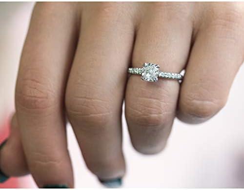 Kobelli Cushion 1ct Diamond French Pave Ring 14k White Gold