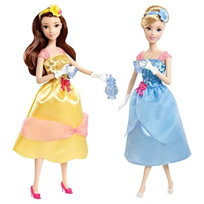 Disney Princess Tea Time Belle and Cinderella Doll Giftset: Toys & Games