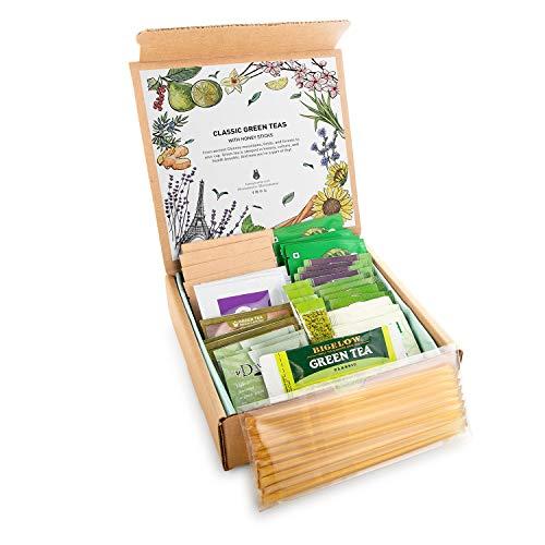 Green Tea Sampler Kit - 40+ Servings Green Tea Bags Assortment with 10 Honey Sticks. Perfect Sampler Gift for Tea Lovers. Best Tea Gift. Anti-oxidant Rich.