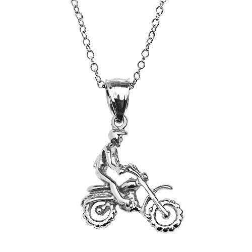 Collier Femme Pendentif 10 Ct Or Blanc Hors Route Montagne Motocyclette (Livré avec une 45cm Chaîne)