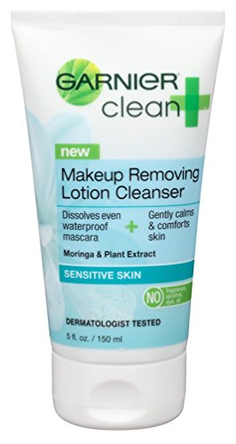 Garnier Skin Clean Plus Makeup Removing Lotion Cleanser, Sensitive Skin, 5 Fluid Ounce (Pack of 2) (Makeup Cleansing Lotion)