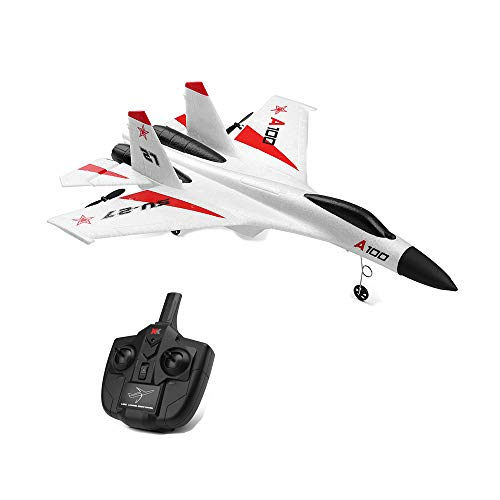Wotryit WLtoys A100 SU-27 3CH 2.4G RC Airplane RTF Glider EPP Composite Material 14+ Vertical Take Off Land Delta Wing RC Flying Aircraft Toys RC Glider Indoors & Outdoors_Small Remote from Wotryit