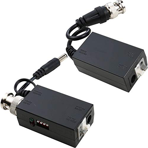 UHPPOTE DC12V 1-CH Active UTP Video Receiver and Transmitter Balun BNC Male ()