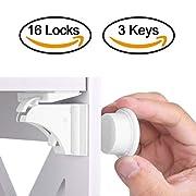 Baby Safety Magnetic Cabinet Lock Set HURRISE Child Safety Locks Kids Toddler Proofing Hidden Cupboard Drawer Locking System No Drilling & Screws (16 Locks & 3 Keys)