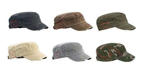 (Mega Cap Cotton Distressed Washed Cadet Cap - 6 pack)