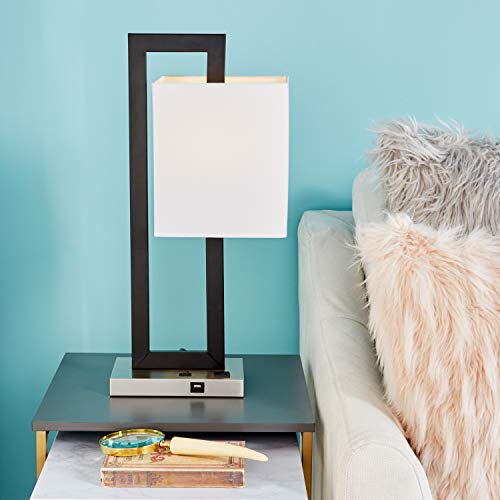"""Deco 79 59268 Contemporary Style Rectangular Black Metal Table Lamp with Dropped Rectangle Shade, USB Plug & Outlet 