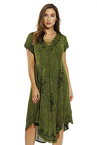 21726-OLIVE-L Riviera Sun Dress / Dresses for - India Clothing