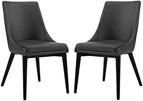 Modway Viscount Mid-Century Modern Faux Leather Upholstered Two Dining Chairs - a good cheap dining room chair