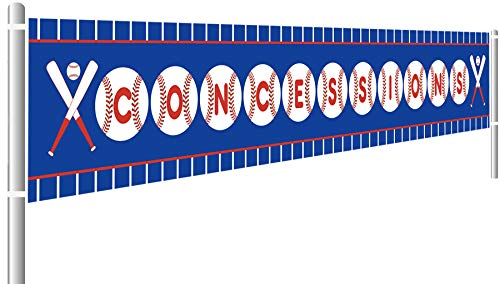 Baseball Concessions Birthday Banner, Happy Birthday Banner, Baby Shower Sports Themed Decoration (9.8 x 1.5 feet)