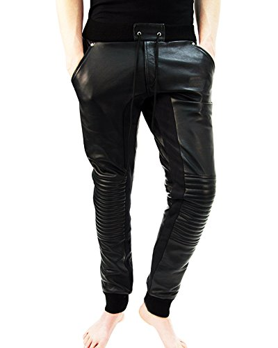 Black Lambskin Leather Pants - Bockle® Joggers Running leather pants lambskin soft Men, Size: XL