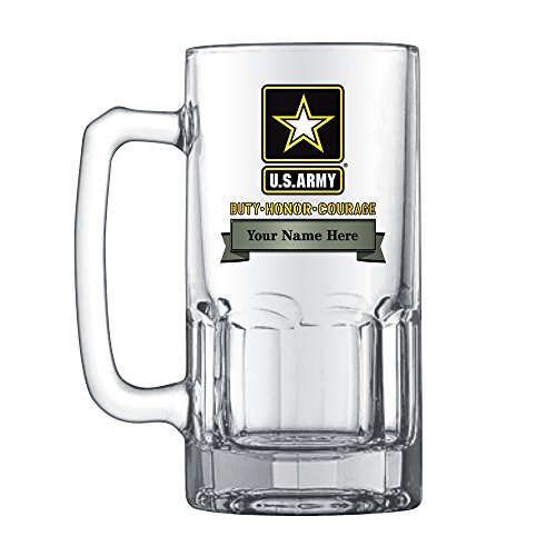 (1 Liter U.S. Army Glass Stein, Includes Name and Rank)