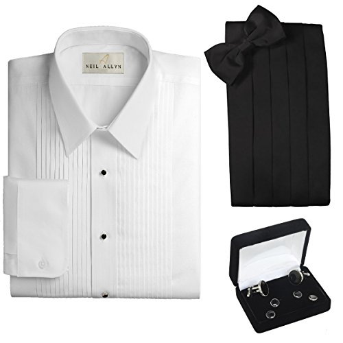 Pleated Front Tuxedo Dress Shirt, Cummerbund, Bow Tie, Cufflink & Studs Set - Laydown Collar, 4XL (22-22.5