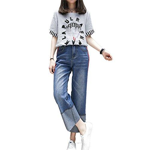 large dcontracts de grande de Pantalons Jeans taille Cowboy jambe Moshow gZqxOfwPn