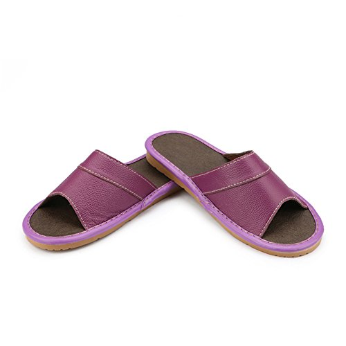 Summer Floor W For Cowhide Wooden Anti Women Slippers Pourpre Autumn smelly Leather Spring Men Corium Tellw 5qw6qz
