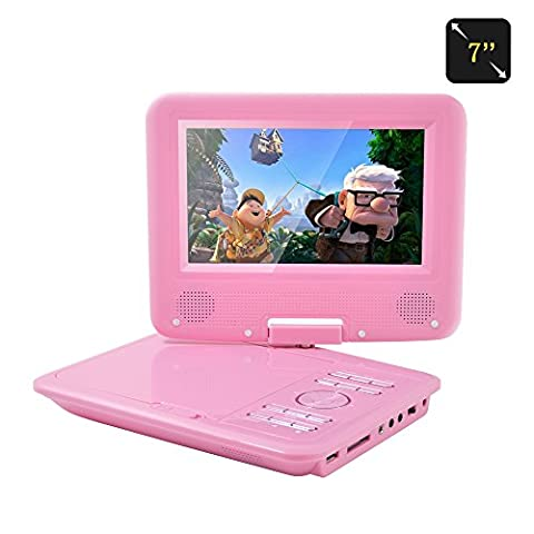 FENGJIDA 7'' Portable DVD Player, with Swivel Screen, 3 Hours Rechargeable Battery, Girls DVD Player, Kids Birthday Return Gift -Pink