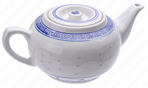 - M.V. Trading MT16PL Chinese Traditional Porcelain Blue and White Rice Pattern Teapot, 38-ounces (3-1/2 Cups)