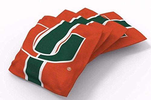 PROLINE 6x6 NCAA College Miami Hurricanes Cornhole Bean Bags - Stripe Design -