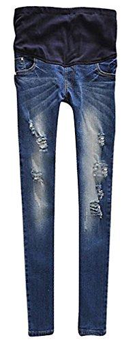 MIAMAMA Women's Maternity High Elastic Waist Comfortable Skinny Stud Blue Jeans, Large