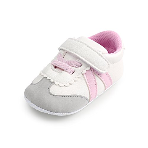 Royal Victory Toddler Baby Boys Girls Shoes 0-18 Months Slip-On PU Leather Crib Shoes Infant Walkers-by RVROVIC (13cm (12-18 Months), 1808-Pink)