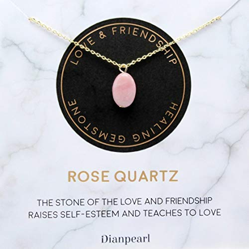 [Premium Gemstone] Rose Quartz necklace, Best friend necklace, valentines day necklace, friendship necklace, Gold dainty necklace, pink necklace, natural stone, healing crystal, mothers day necklace