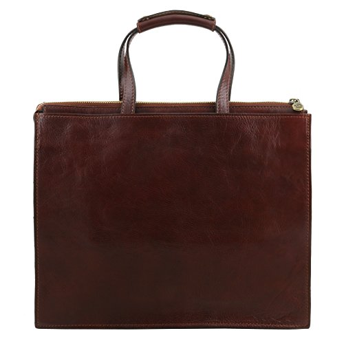81413434 - TUSCANY LEATHER: PALERMO - Damen Aktentasche aus Leder 3 Fächer, Dunkelbraun
