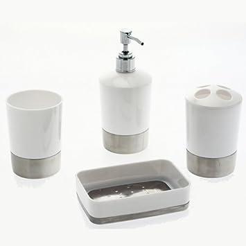 Set de 4 accessoires pour salle de bain Shiny - PVC et inox - Blanc ...