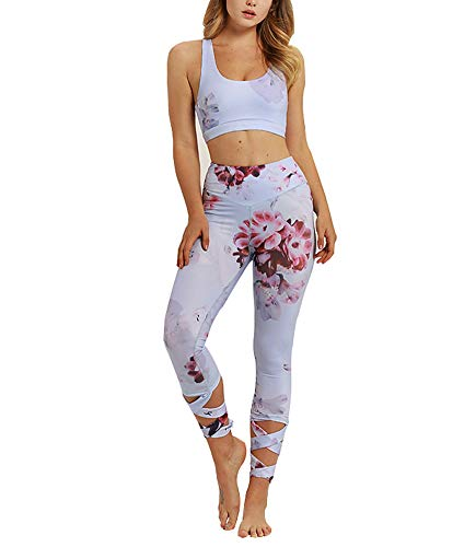 Womens High Waist Fitness Yoga Clothes Set, Crop Top Leggings 2 Pieces Workout Suit Althletic Outfits Set (Large, Floral)