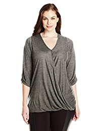 Paper + Tee Women's Plus-Size V-Neck 3/4 Sleeve Drape Front Top