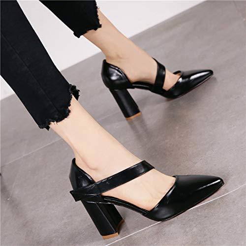 Hrcxue Heel bas Chaussures Noir Stiletto Velcro Chaussures Brun Pointu bouts Pointu Retro à Haut qfqnr5O