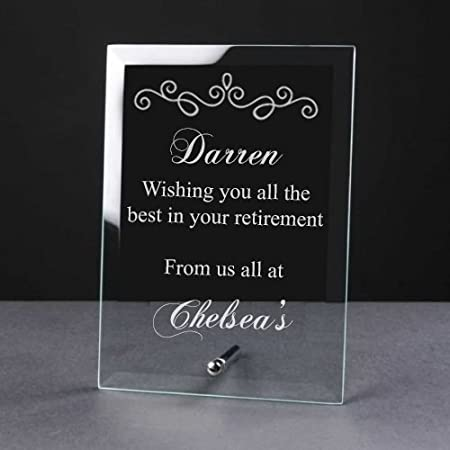 Ukgiftstoreonline Personalised Engraved Retirement Glass Plaque Sentiment Gift Amazoncouk Kitchen Home