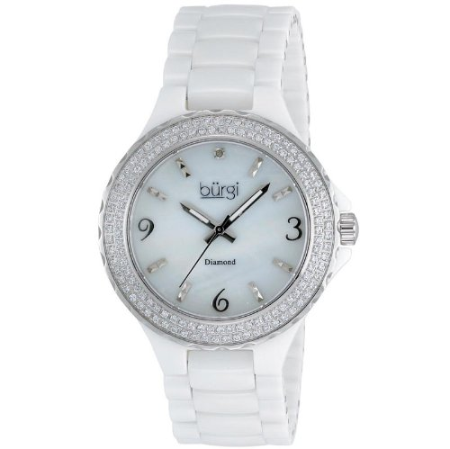 Burgi Diamond Ceramic Mother of Pearl Quartz Ladies Watch BUR047WT
