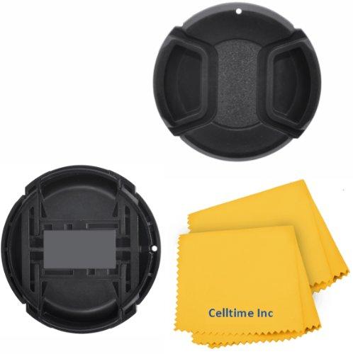 (SET OF 2) 72MM Snap On Lens Cap For Video Camera Camcorder for CANON (XHA1 XHG1 XL1 XL1E XL1S XL2 XL2E, PANASONIC AG-DVX102 DVX100B) + Celltime Elite Cleaning Cloth